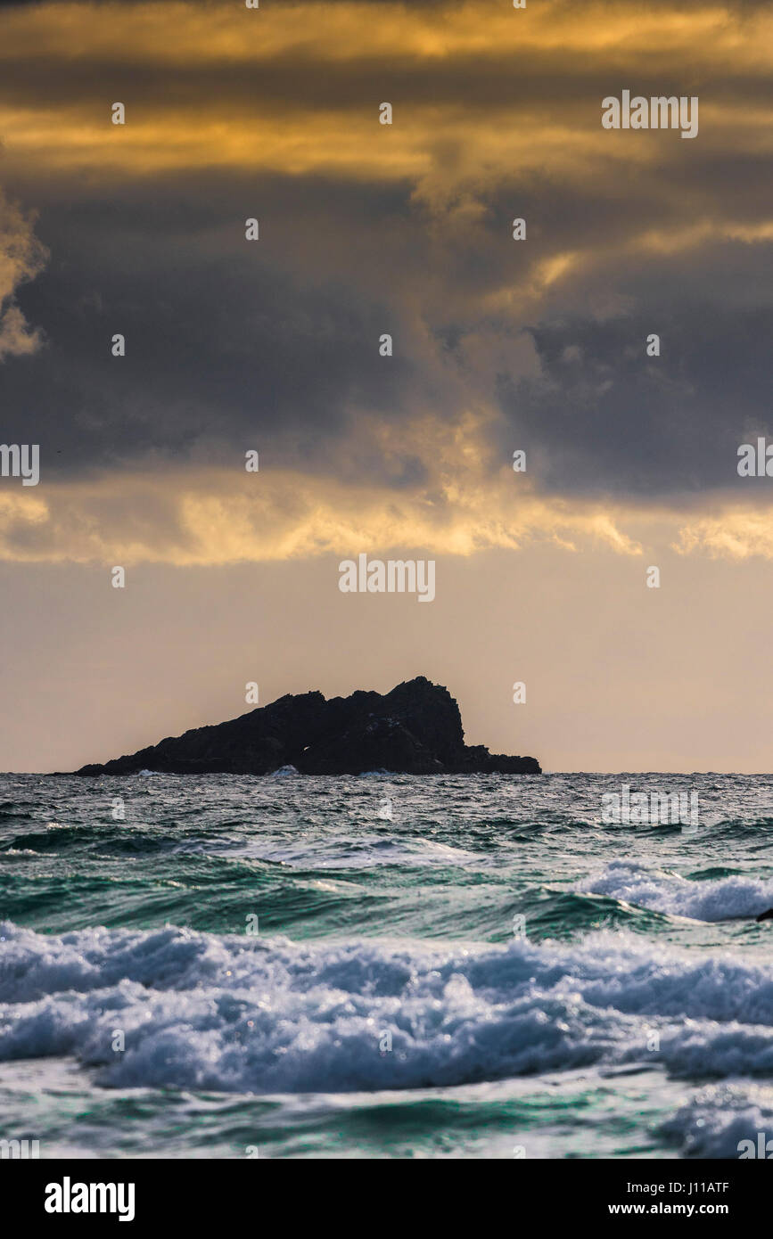 The Goose Island Evening Golden glow Sea Water Gathering clouds Atmospheric; Stranded - Stock Image