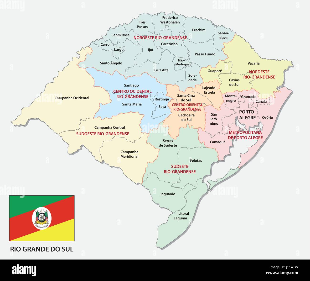 Rio Grande do Sul and administrative politicaln map with flag Stock Vector