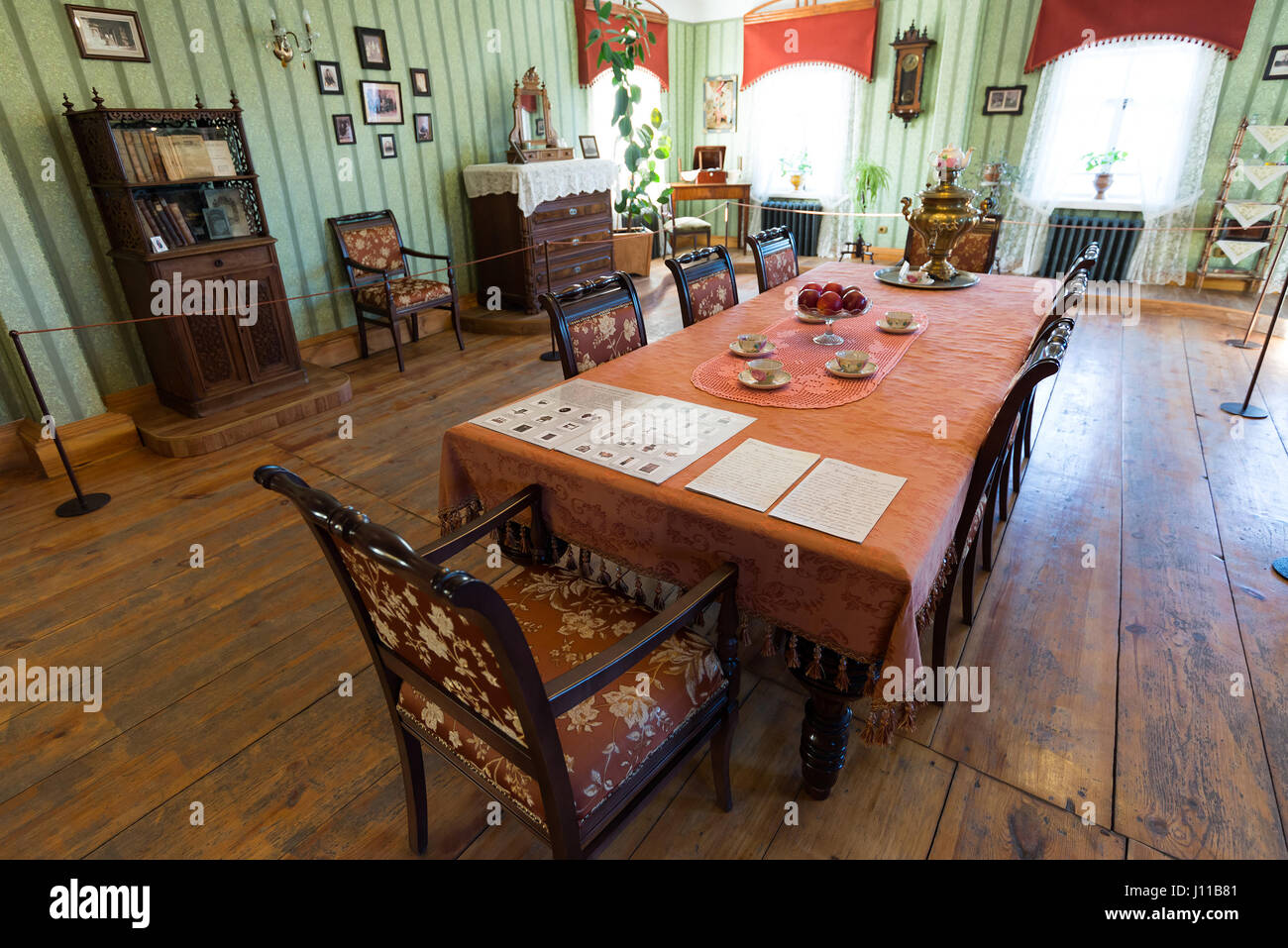 Suzdal, Russia - November 06, 2015. Museum Wooden Architecture, Interior merchants house - Stock Image