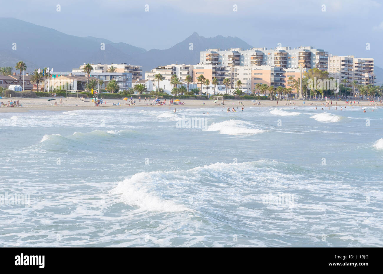 Sunset At The Beach Of Castellon De La Plana Limit With Benicassim Stock Photo Alamy