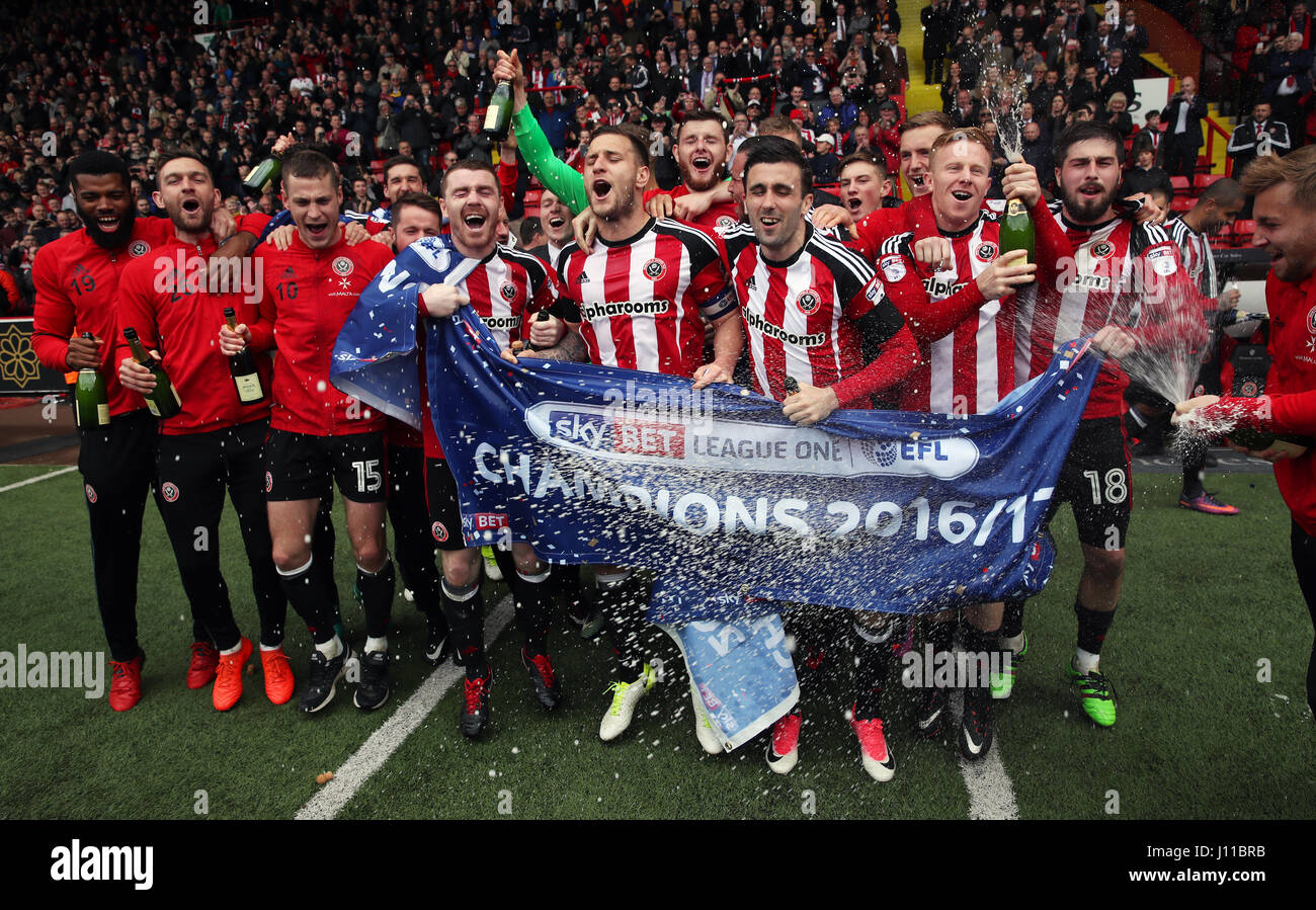 Sheffield United players celebrate winning the Sky Bet