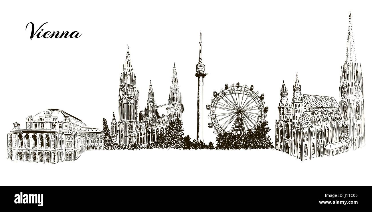 Set of Vienna symbols silhuettes. Cityline. Donauturm, Stephansdom, Rathaus, Prater, Vienna State Opera House. - Stock Vector