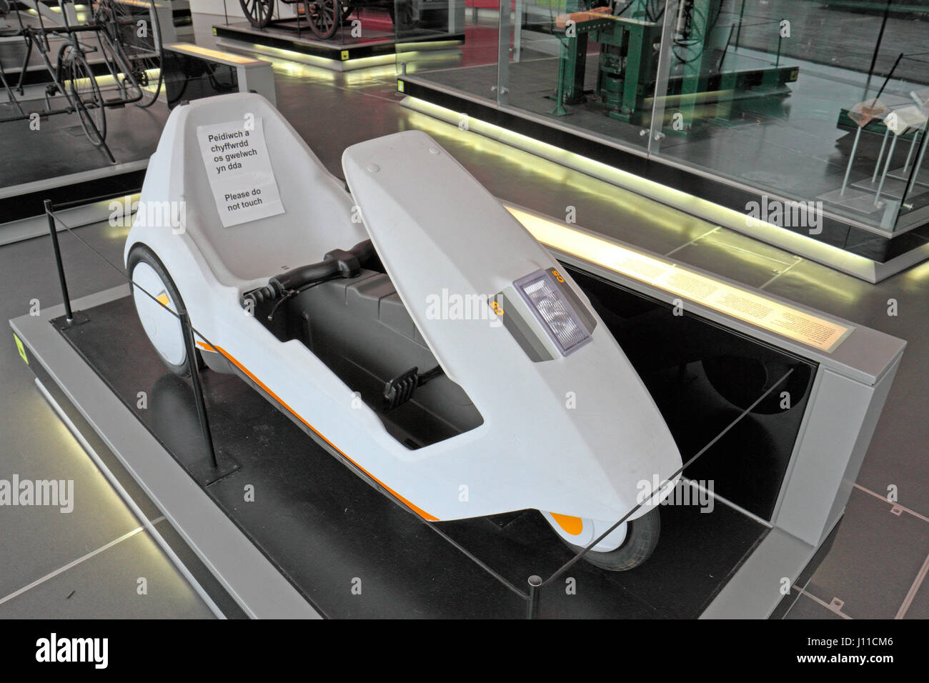 A Sinclair C5 on display in the National Waterfront Museum, Swansea, Wales. - Stock Image
