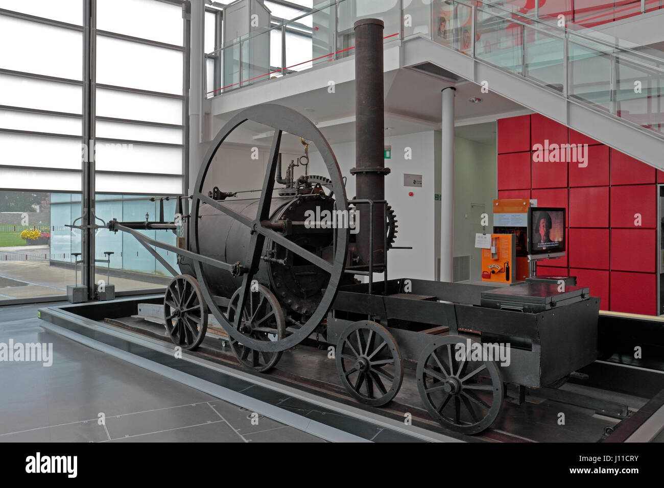 Trevithick's Penydarren tramway locomotive (replica) on display in the National Waterfront Museum, Swansea, - Stock Image