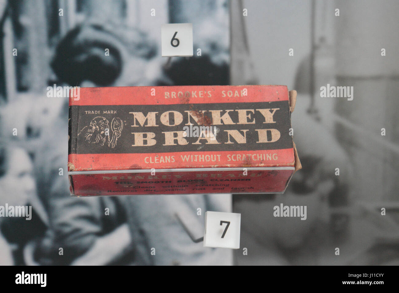 'Monkey Brand' Brooke's Soap ('Cleans Without Scratching') from about 1900 on display in the - Stock Image