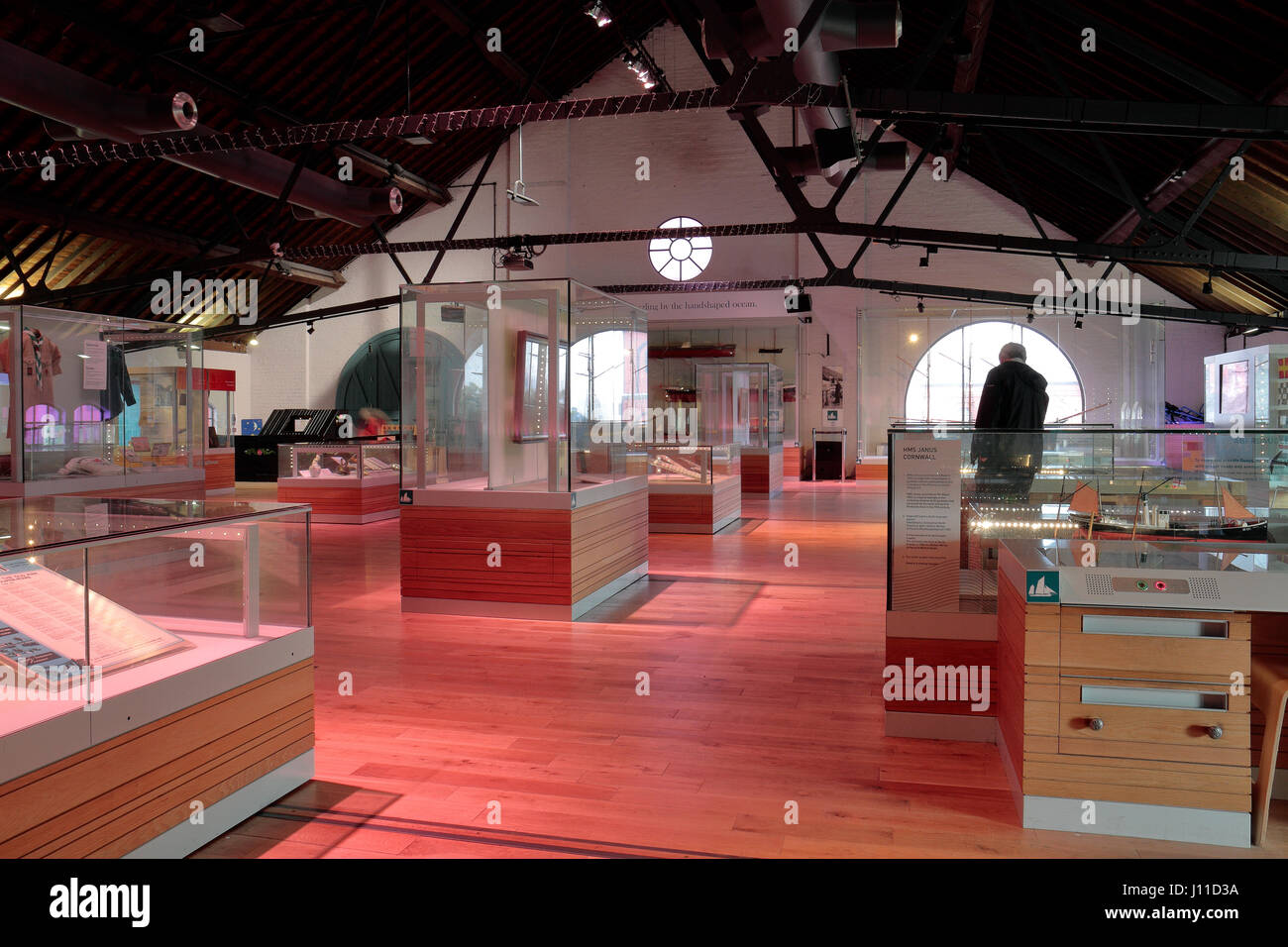 General view of exhibition displays in the National Waterfront Museum, Swansea, Wales. - Stock Image