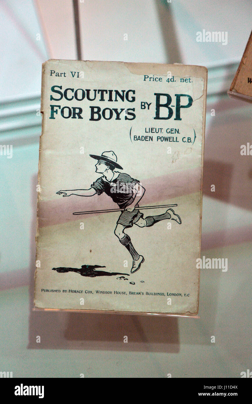'Scouting For Boys by BP' magazine from 1908 on display in the National Waterfront Museum, Swansea, Wales. - Stock Image