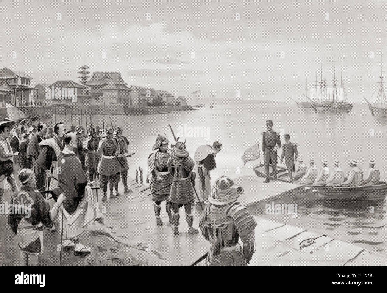 The landing of Admiral Perry in Tokio Harbour,Japan, July 8th, 1853.  Matthew Calbraith Perry, 1794 – 1858. Commodore of the United States Navy  who played a ...