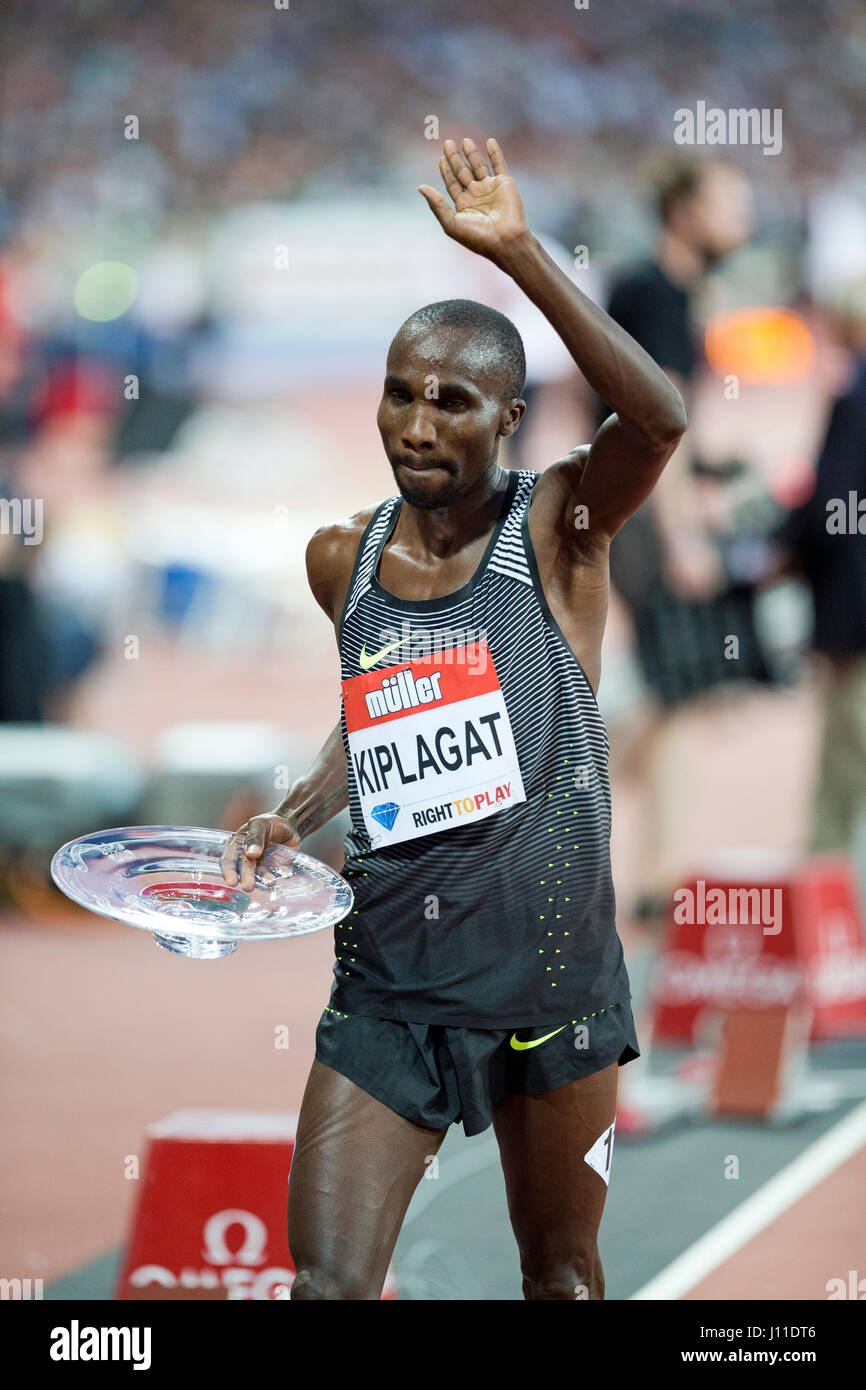 Silas Kiplagat (KEN) winner of the Emsley Carr Mile at the London, UK, IAAF Diamond League Anniversary Games. 22nd - Stock Image
