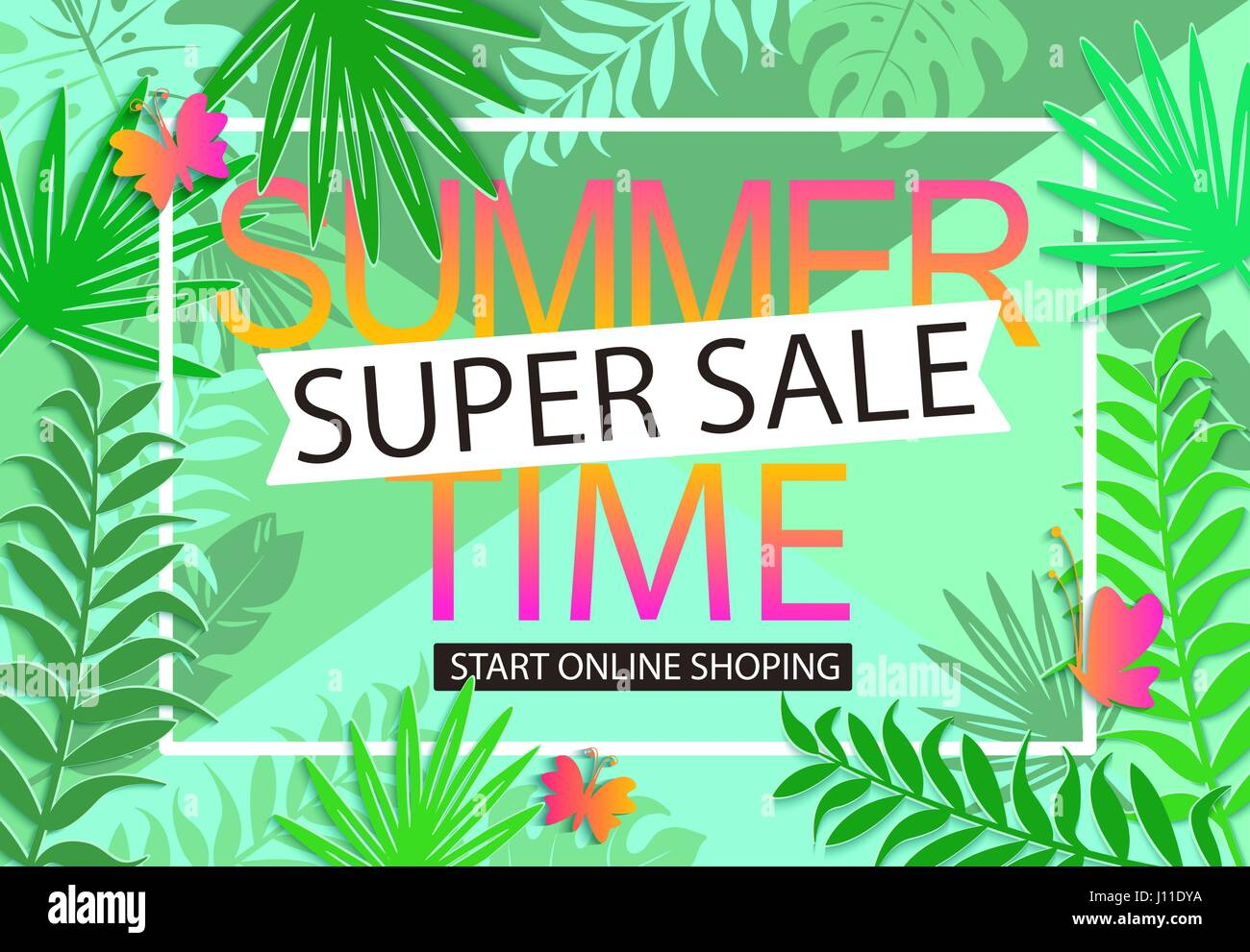 Summer Sale Geometric Background With Butterflies And Tropical Leaves Vector Illustration Template Banners Wallpaper Flyers Invitation Poster