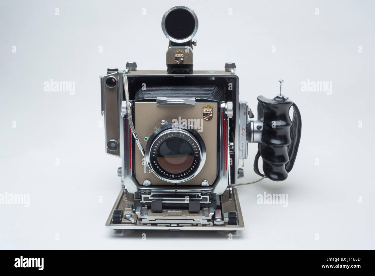 HISTORICAL 1960 LINHOF SUPER TECHNIKA IV LARGE FORMAT RANGE FINDER FILM VIEW CAMERA (©LINHOF GMBH 1956) - Stock Image
