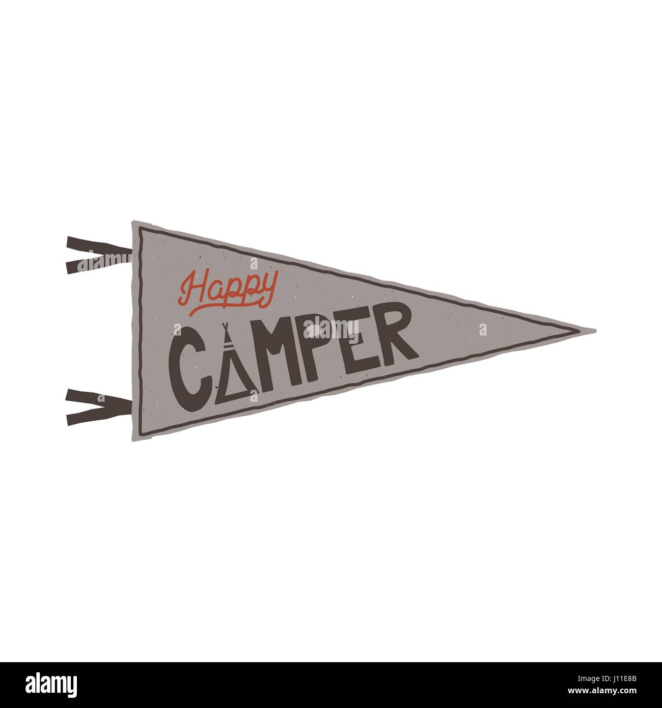 Happy Camper Pennant Template Tent And Text Sign Retro Colors Design Stock Vector Isolated On White Background