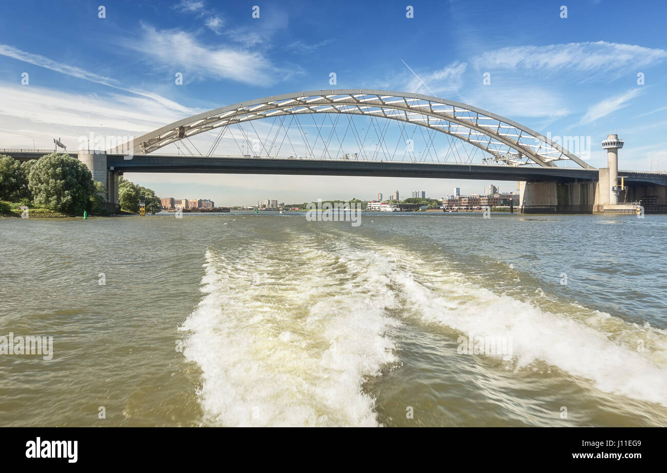 Rotterdam, Netherlands – August 18, 2016: The infamous Van Brienenoordbrug is a bridge across the Nieuwe Maas to - Stock Image