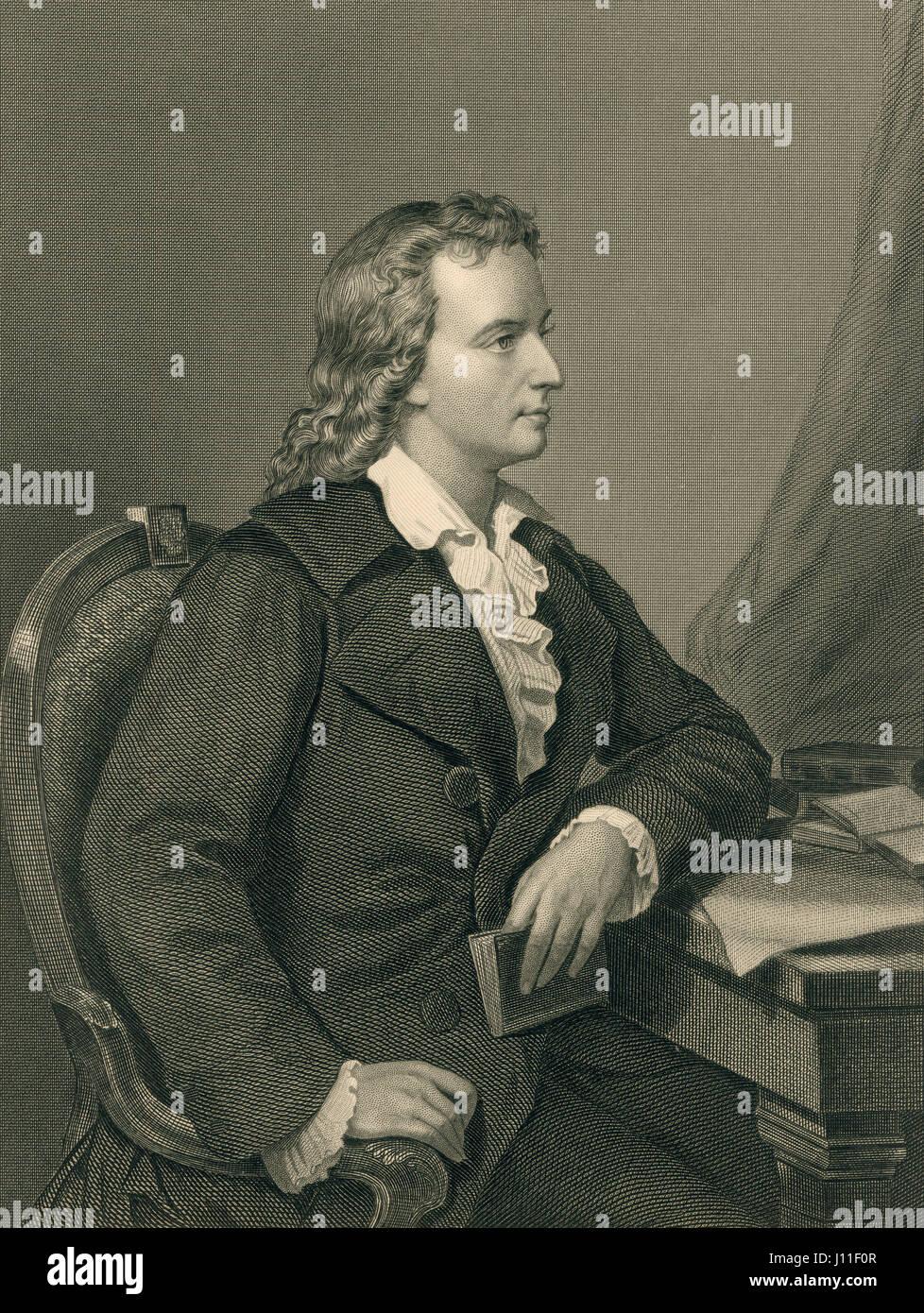 Friedrich von Schiller, German Poet, Portrait, Engraving from an Original Portrait by Melcher of Berlin - Stock Image