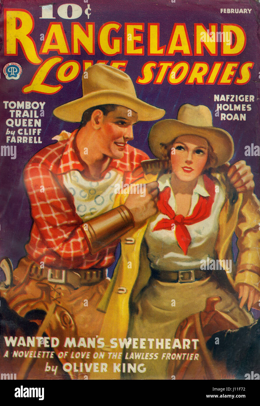 Cover of Rangeland Love Stories Magazine, February 1937 - Stock Image