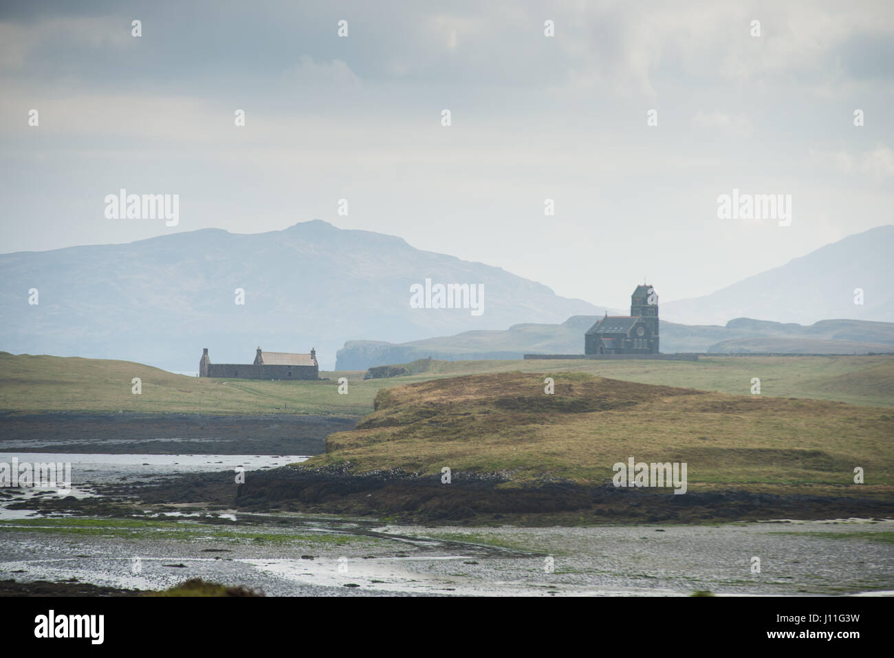 The arts centre and former St Edwards Chapel on Sanday ( and Canna ) Islands, Inner Hebrides, Scotland. - Stock Image