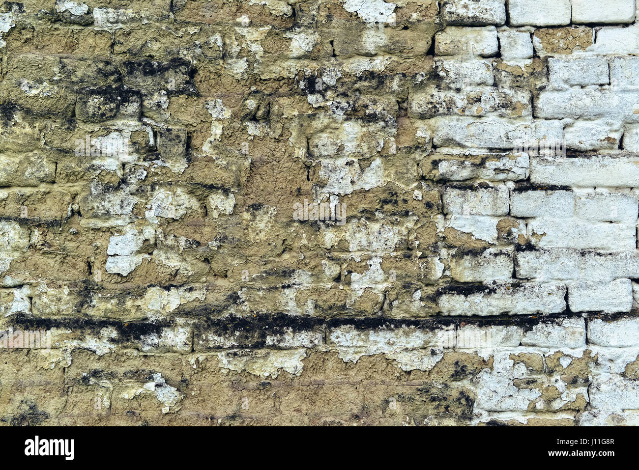 Old weathered mudbrick wall texture, mud-brick construction is often adobe - Stock Image