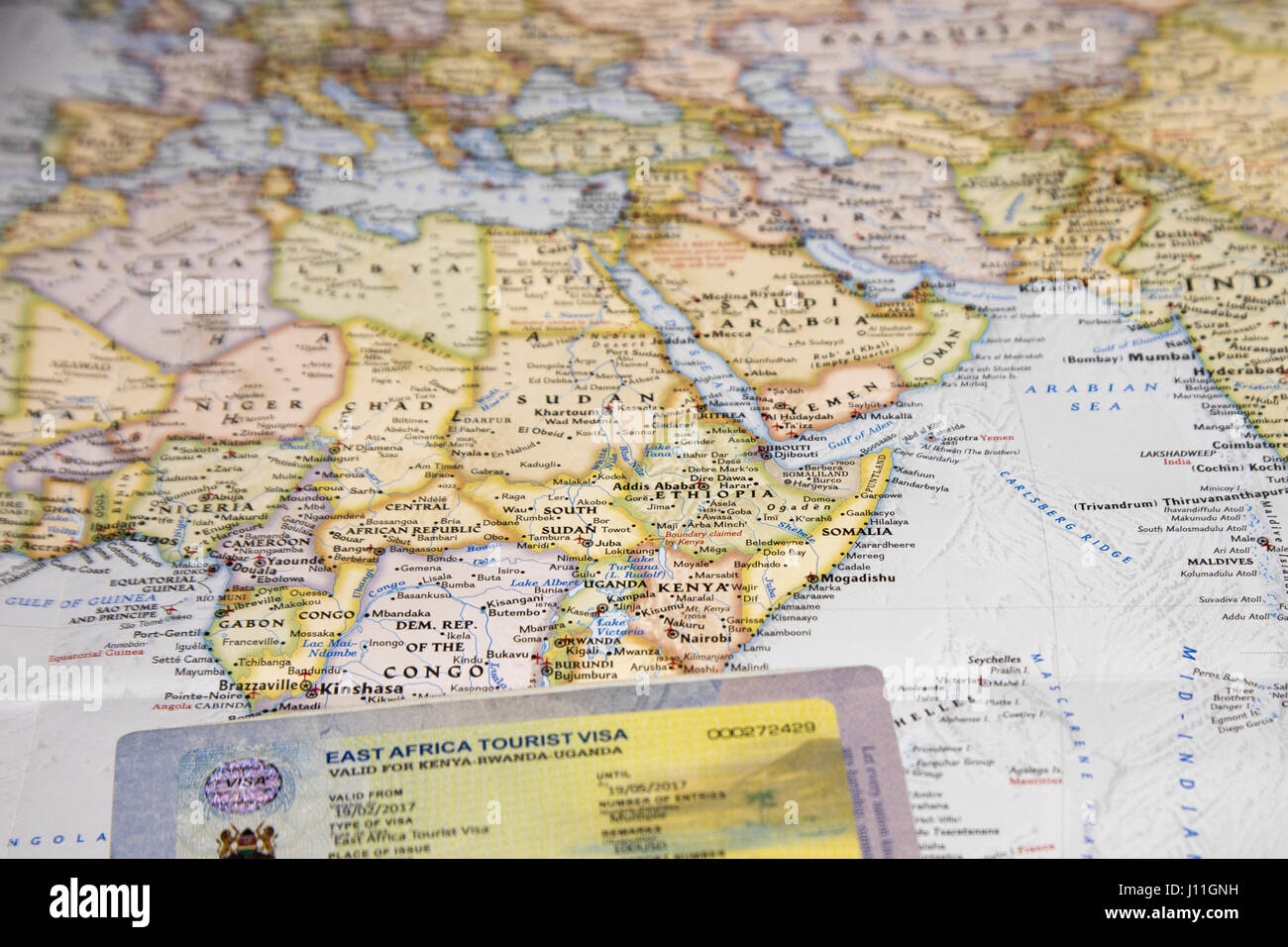 Map Of Africa With East Africa Tourist Visa For Entry Into Rwanda