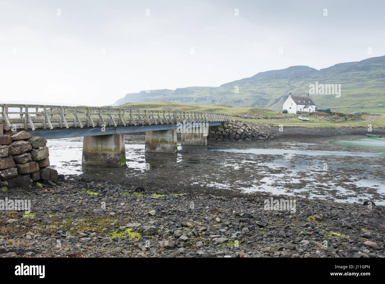The causeway joining the islands of Canna and Sanday, Inner Hebrides,Scotland Stock Photo