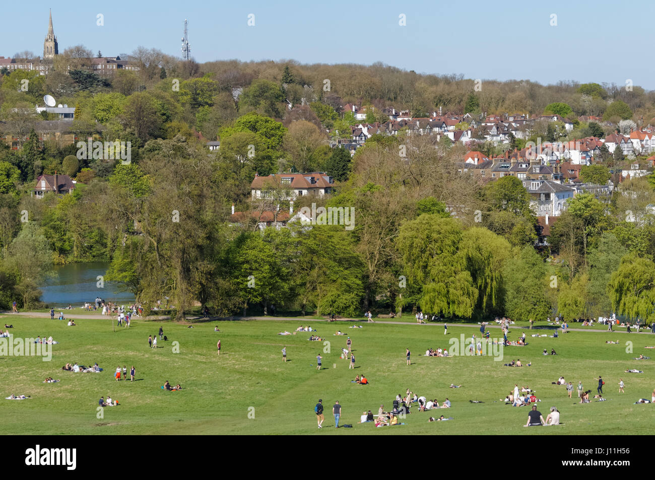Houses on Hampstead seen from Parliament Hill in Hampstead Heath, London England United Kingdom UK - Stock Image