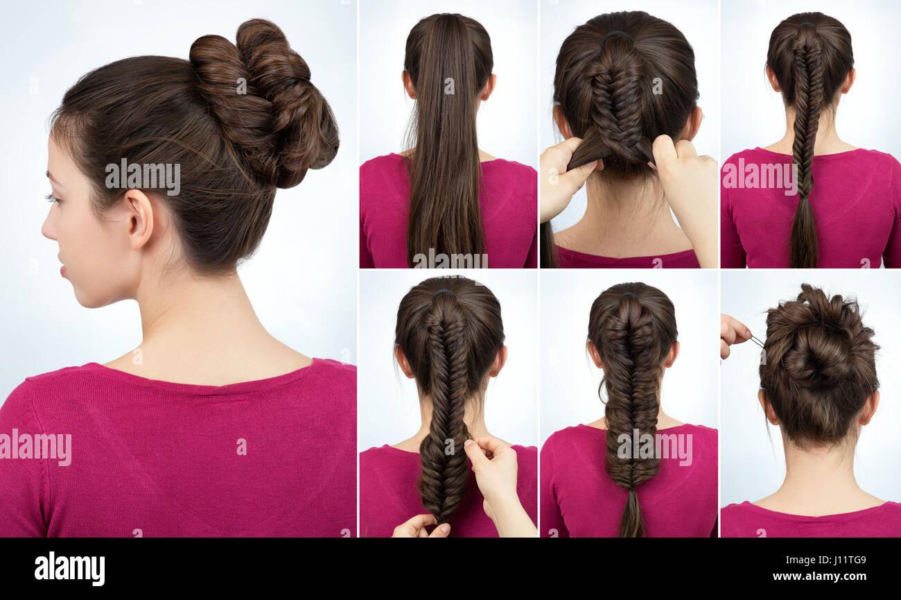 Modern Hairstyle Twisted Bun Braid Stock Photos Modern Hairstyle