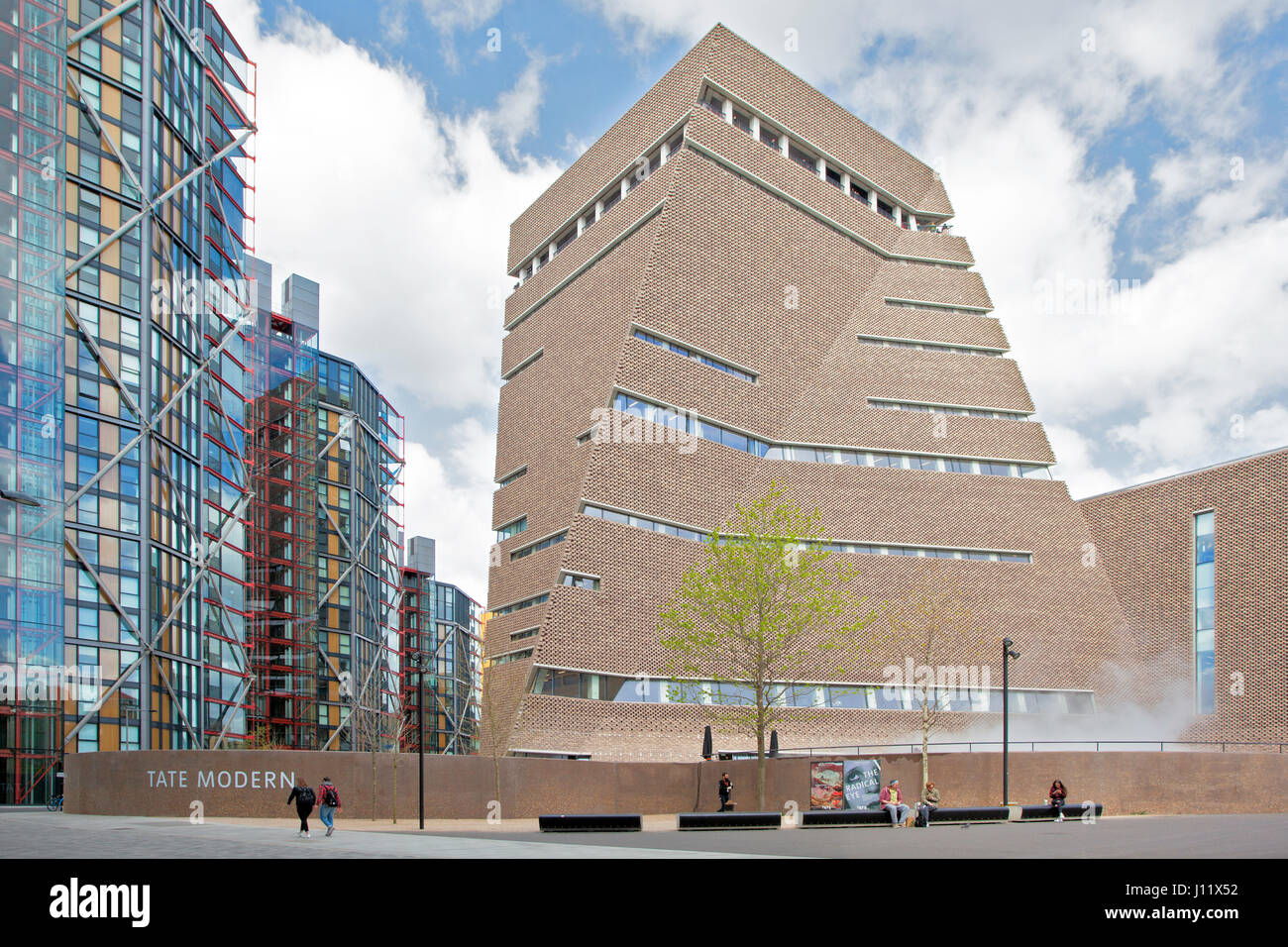Exterior of Tate Modern Switch House by Herzog & de Meuron viewed from outside, located on Bankside, London, - Stock Image