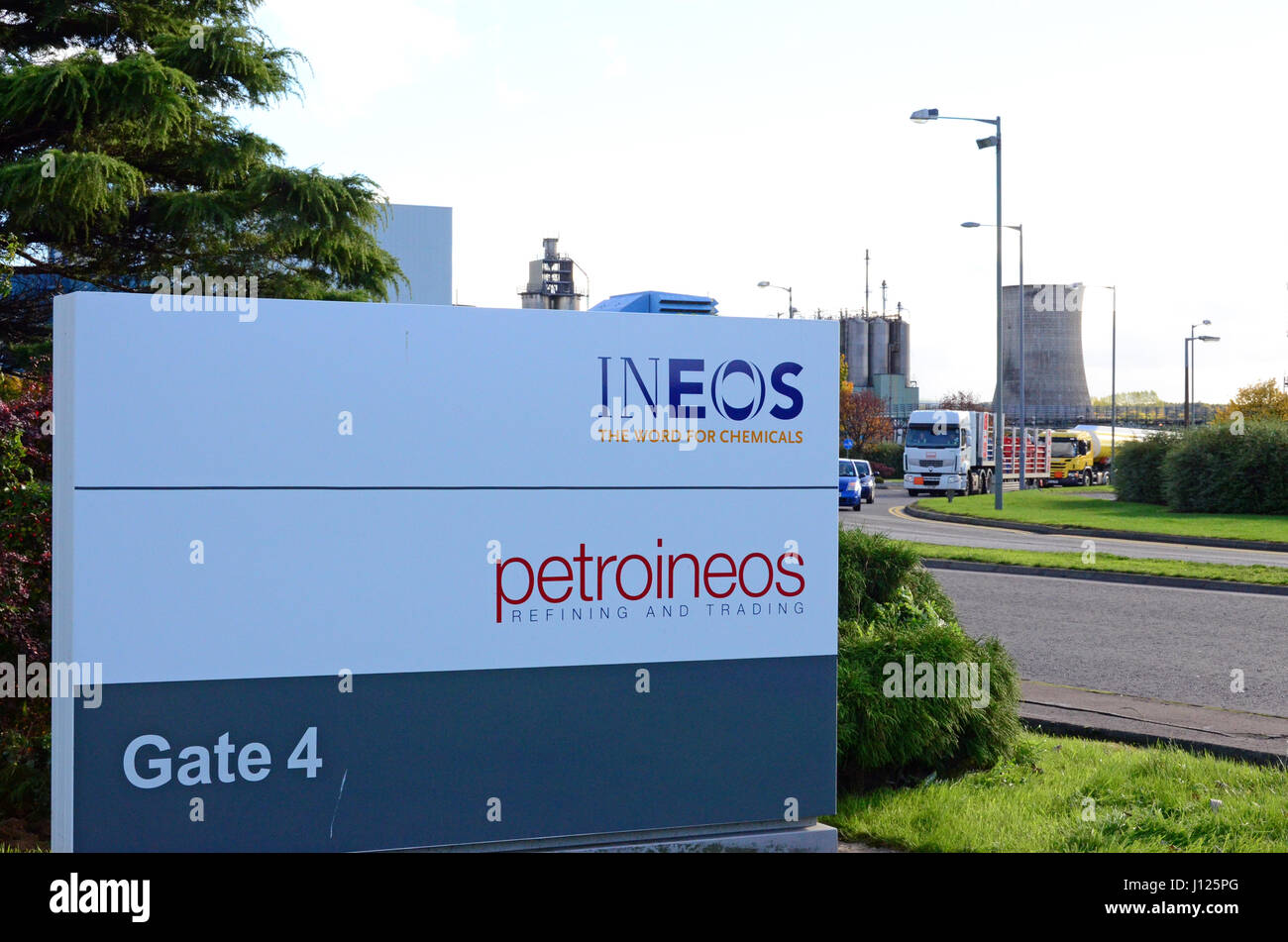 An Ineos sign at the Grangemouth site on the day the company announced the closure of the petrochemical plant - Stock Image