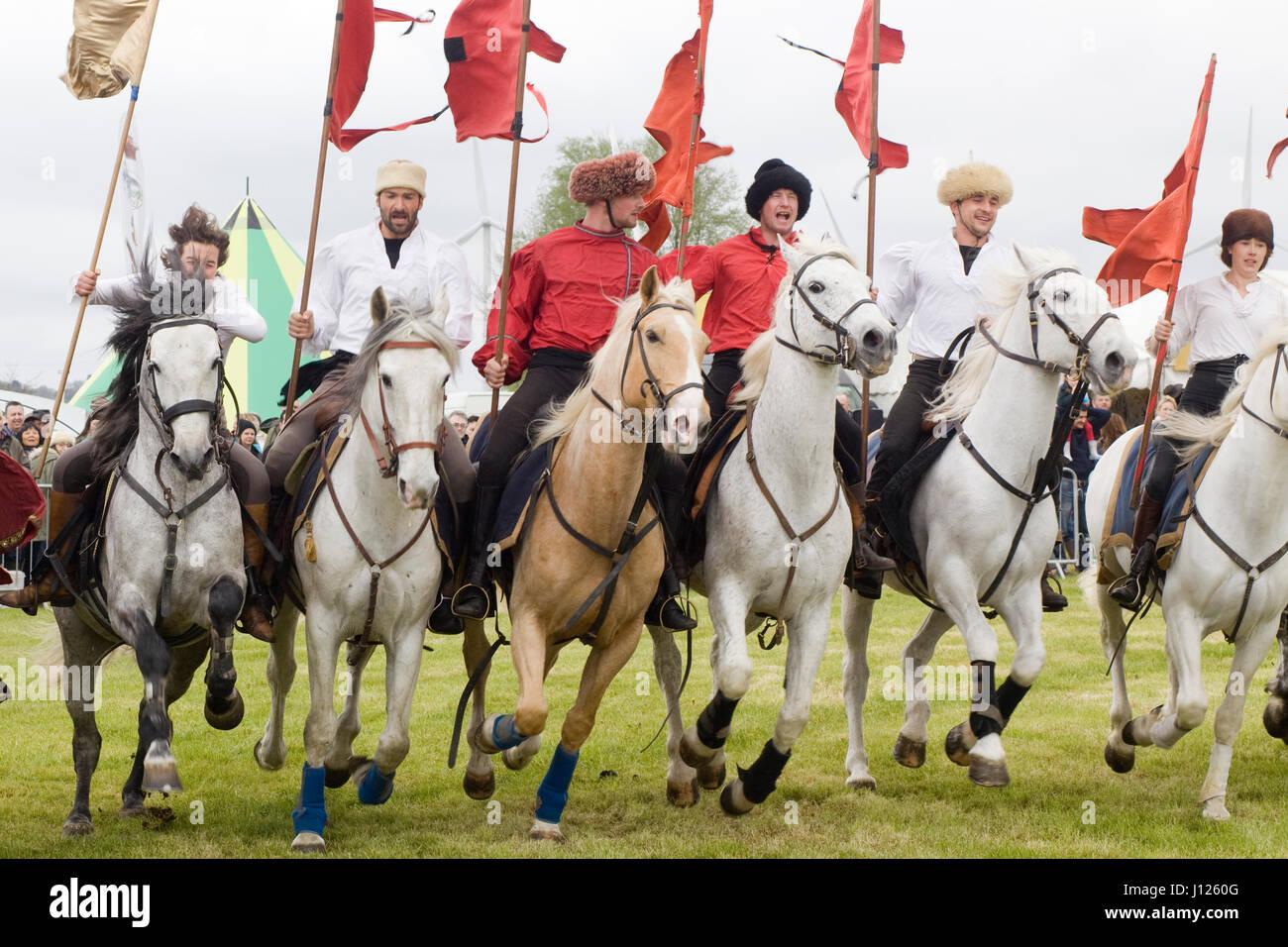 The Devils horsemen stunt team display - Stock Image