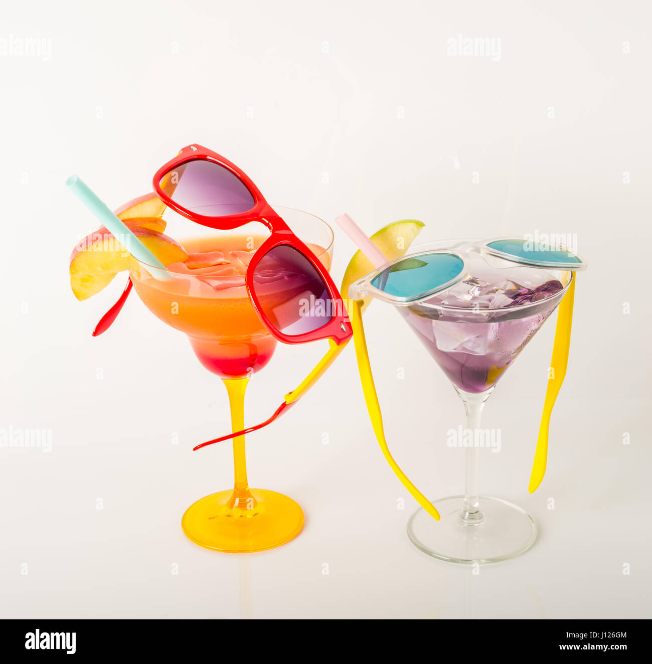 Drinks Decorated With Fruit Margarita And Martini Glasses