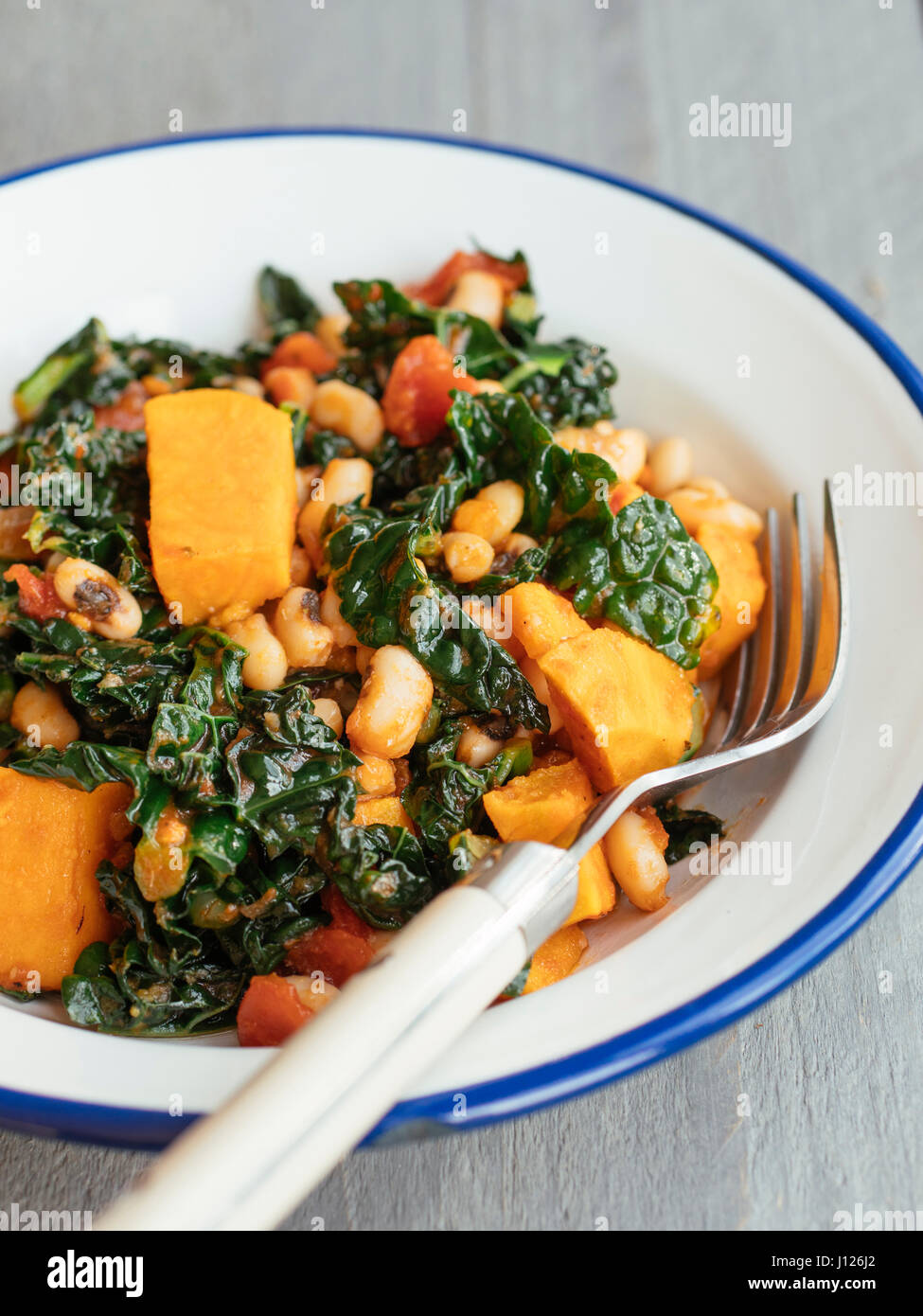 Black-eyed Peas, Sweet Potatoes and Kale - Stock Image