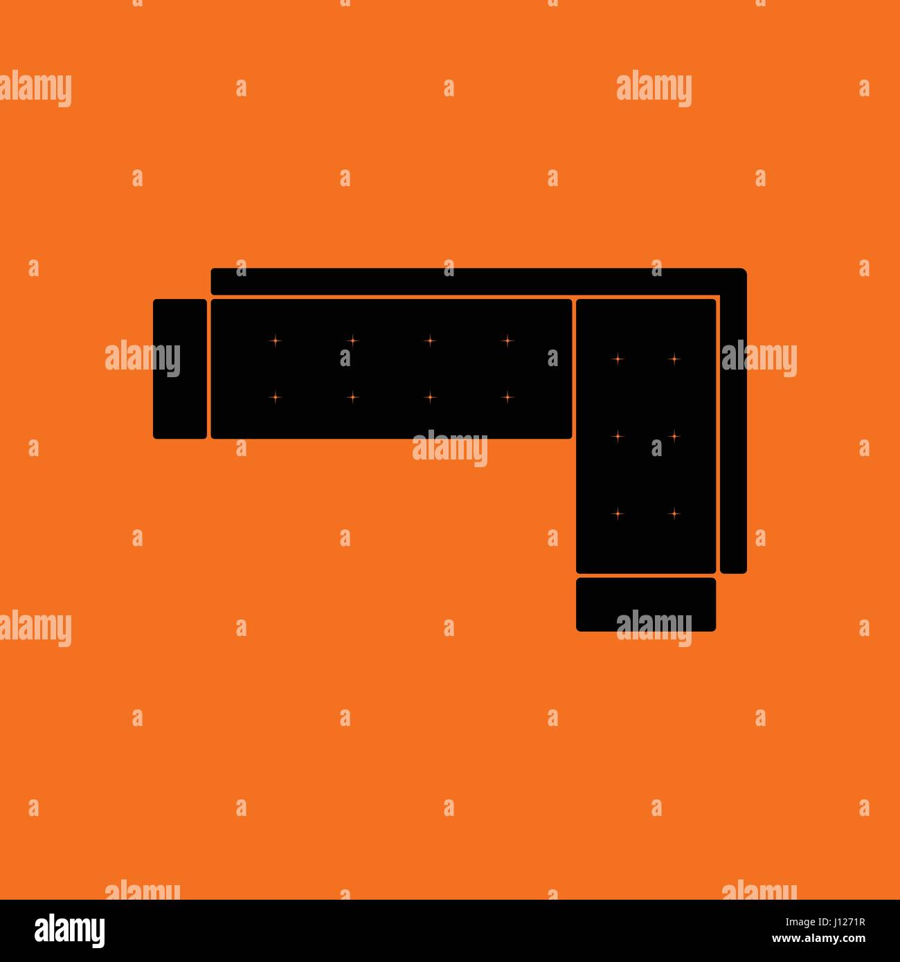 Corner Sofa Icon Orange Background With Black Vector Illustration