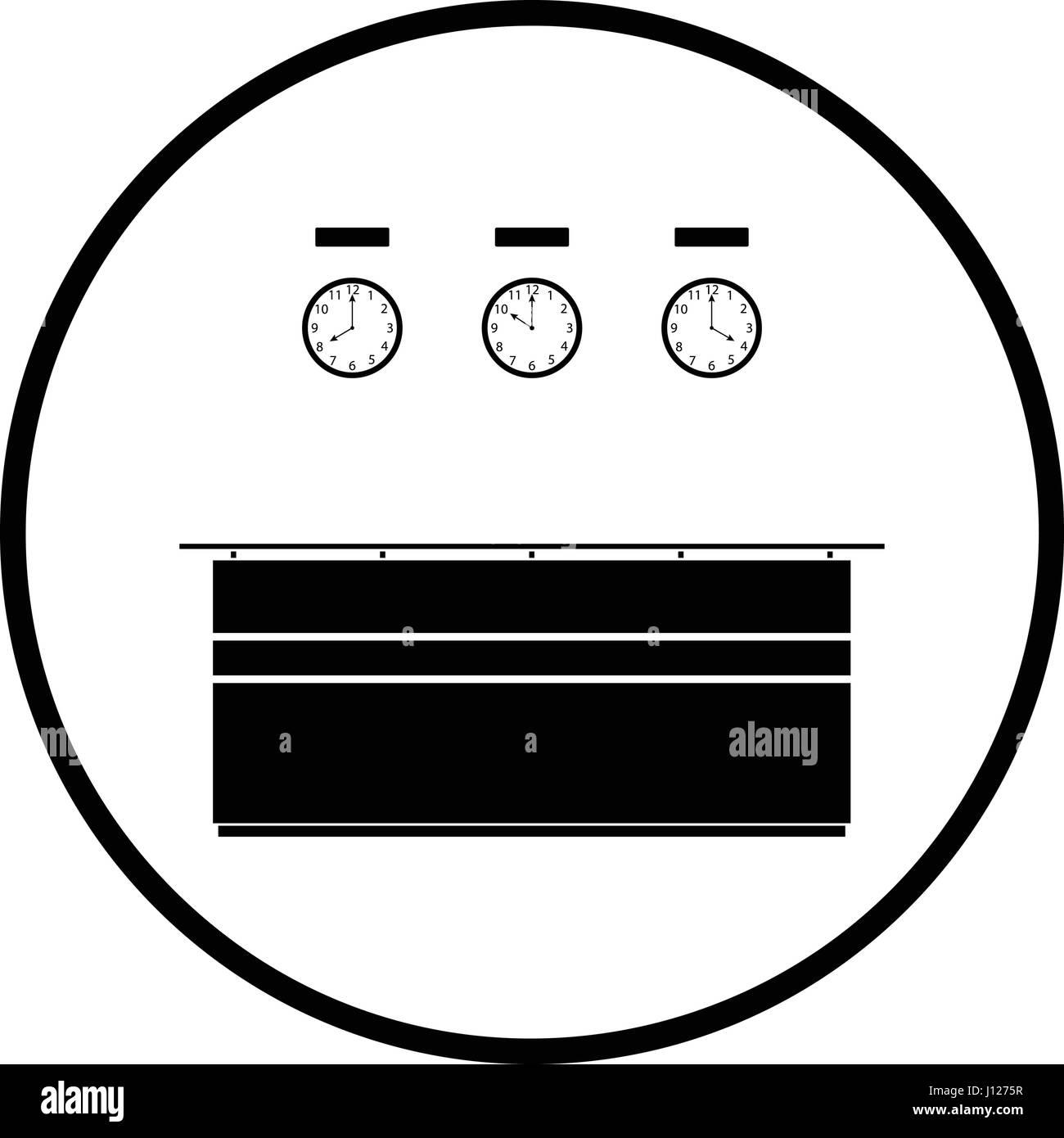 Office Reception Desk Icon Thin Circle Design Vector Illustration