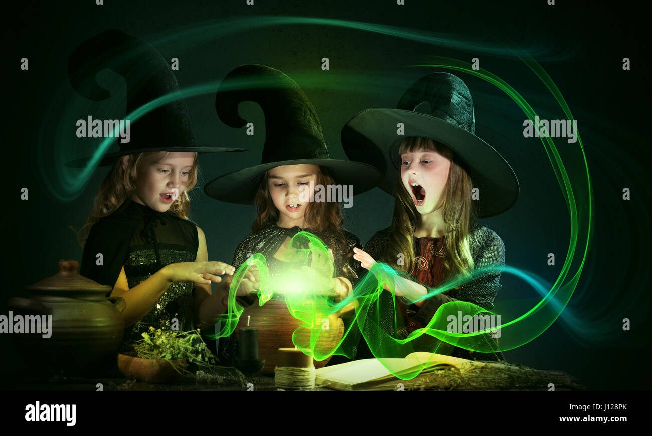 Three little witches - Stock Image