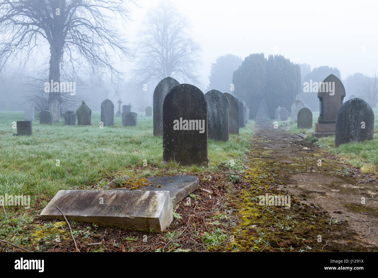 Fallen gravestone and other graves on a misty day at a cemetery, England, UK - Stock Image
