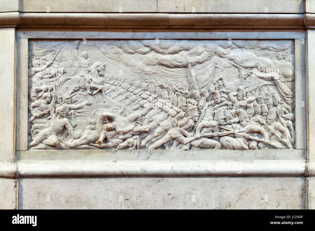 Guildhall, London, UK (the Great Hall). Detail of the monument to the Duke of Wellington, showing the Last Charge - Stock Image