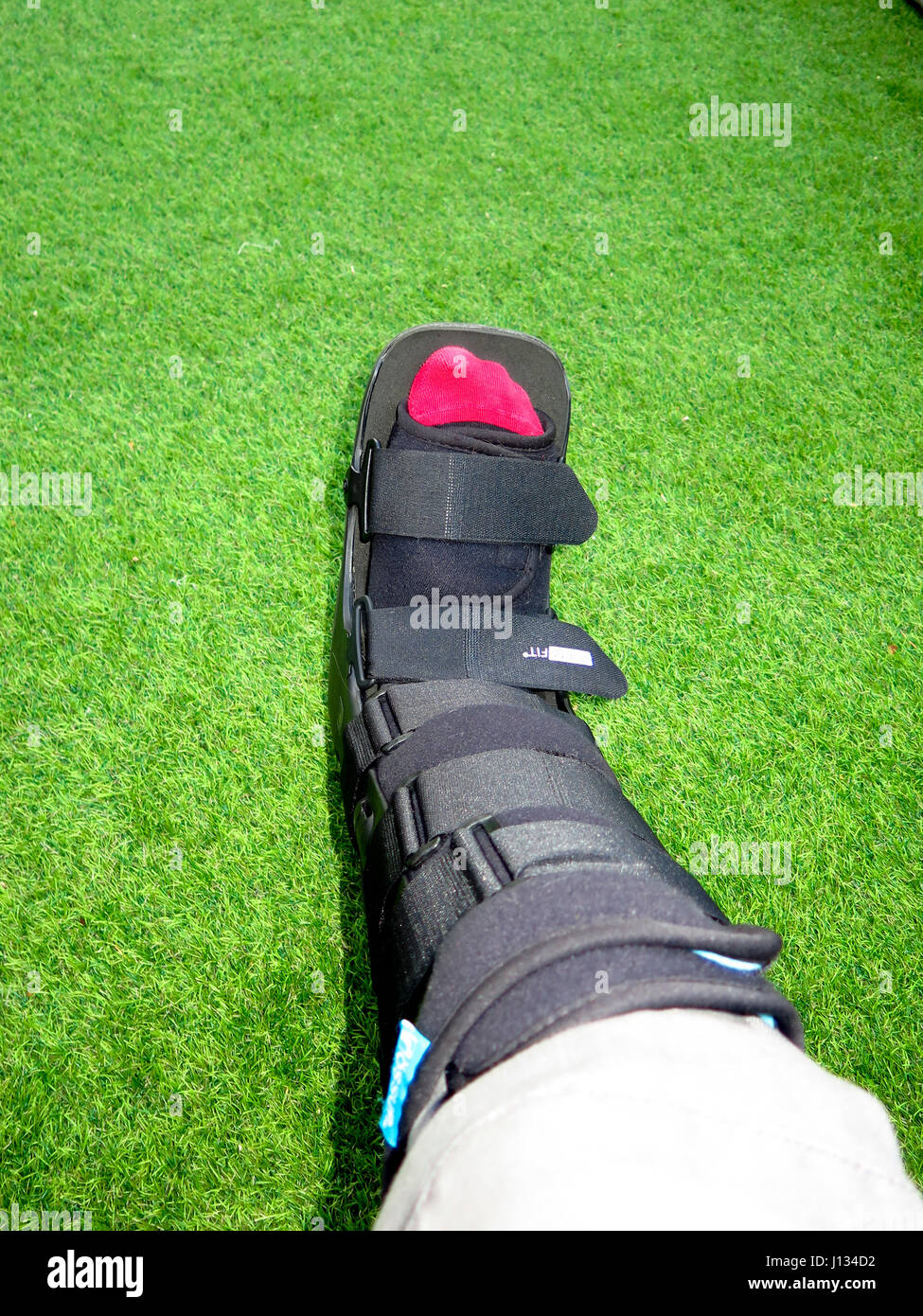 Medical support boot for broken ankle - Stock Image