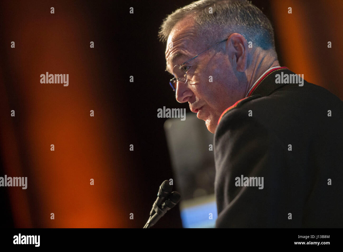 Marine Corps Gen. Joseph F. Dunford Jr., chairman of the Joint Chiefs of Staff, makes remarks during the Tragedy Stock Photo