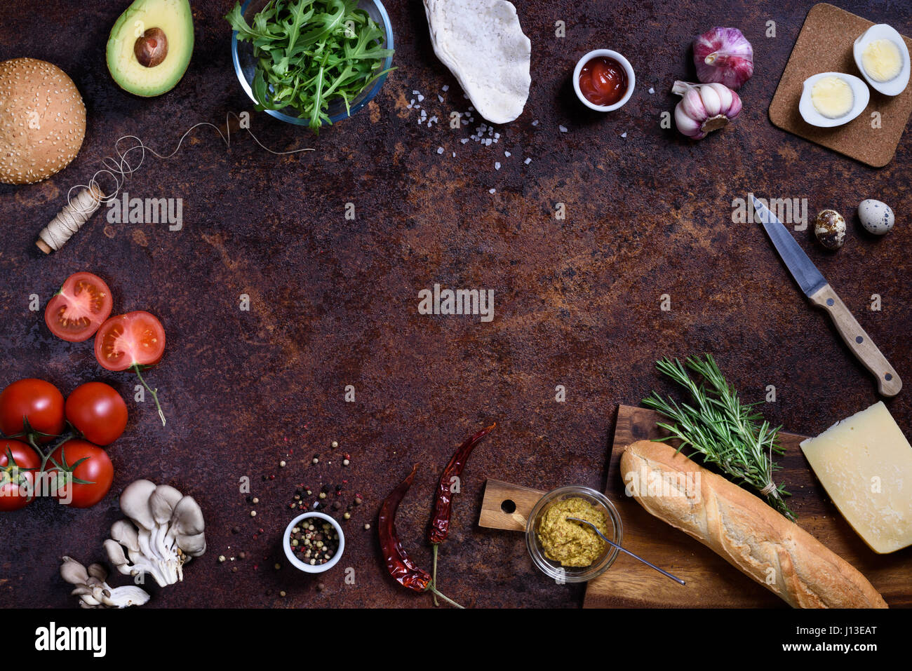 Fast snack ingredients, burger and sandwich menu. Restaurant frame, copy space, top view, flat lay. Stock Photo