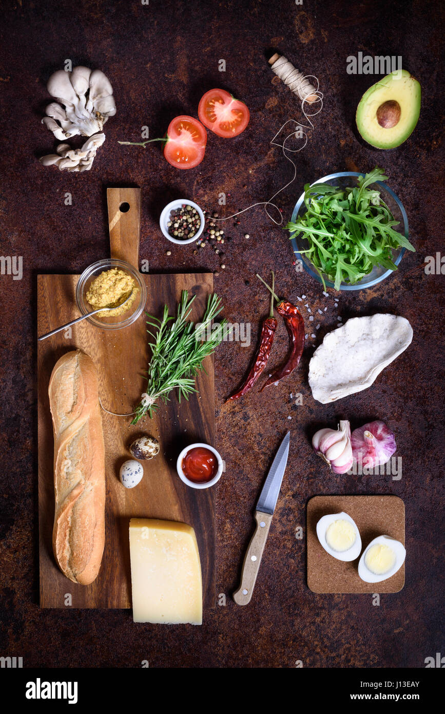 Fast snack ingredients, burger and sandwich menu. Restaurant frame, copy space, top view, flat lay. - Stock Image