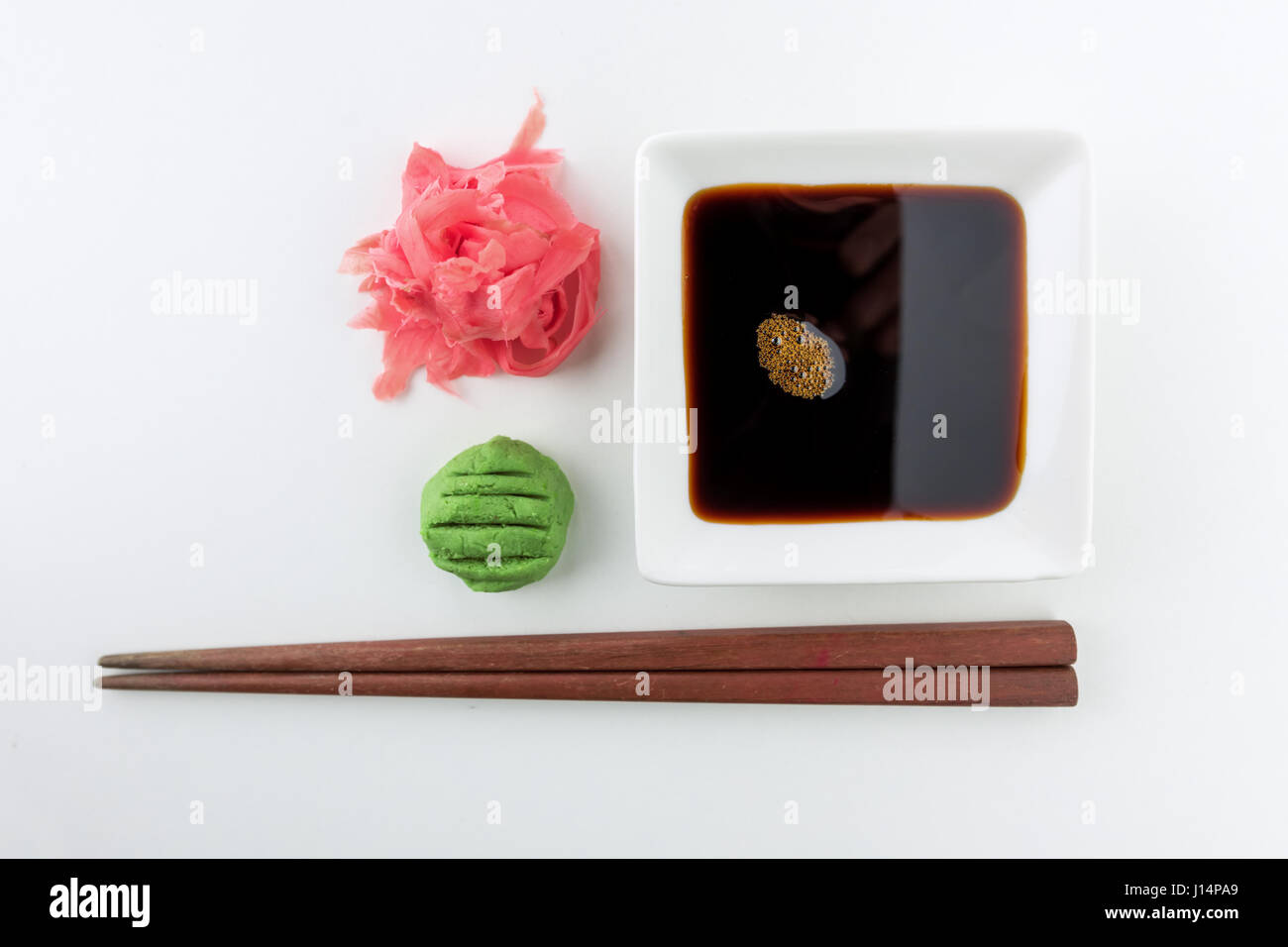 soy sauce, ginger and wasabi Stock Photo