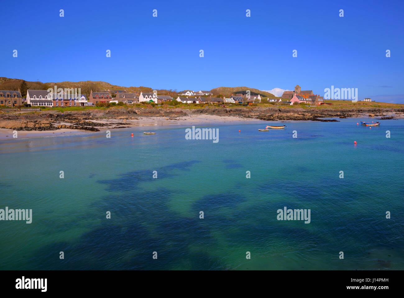 Turquoise clear blue sea Isle of Iona Scotland uk beautiful Scottish island - Stock Image