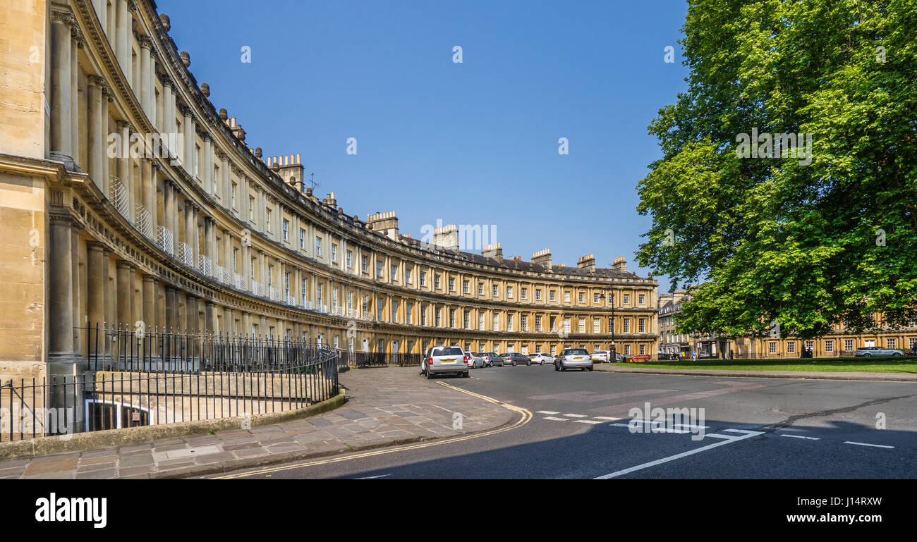 United Kingdom, Somerset, Bath, the Georgian architecture of the Circus, a circular space sourounded by large townhouses - Stock Image