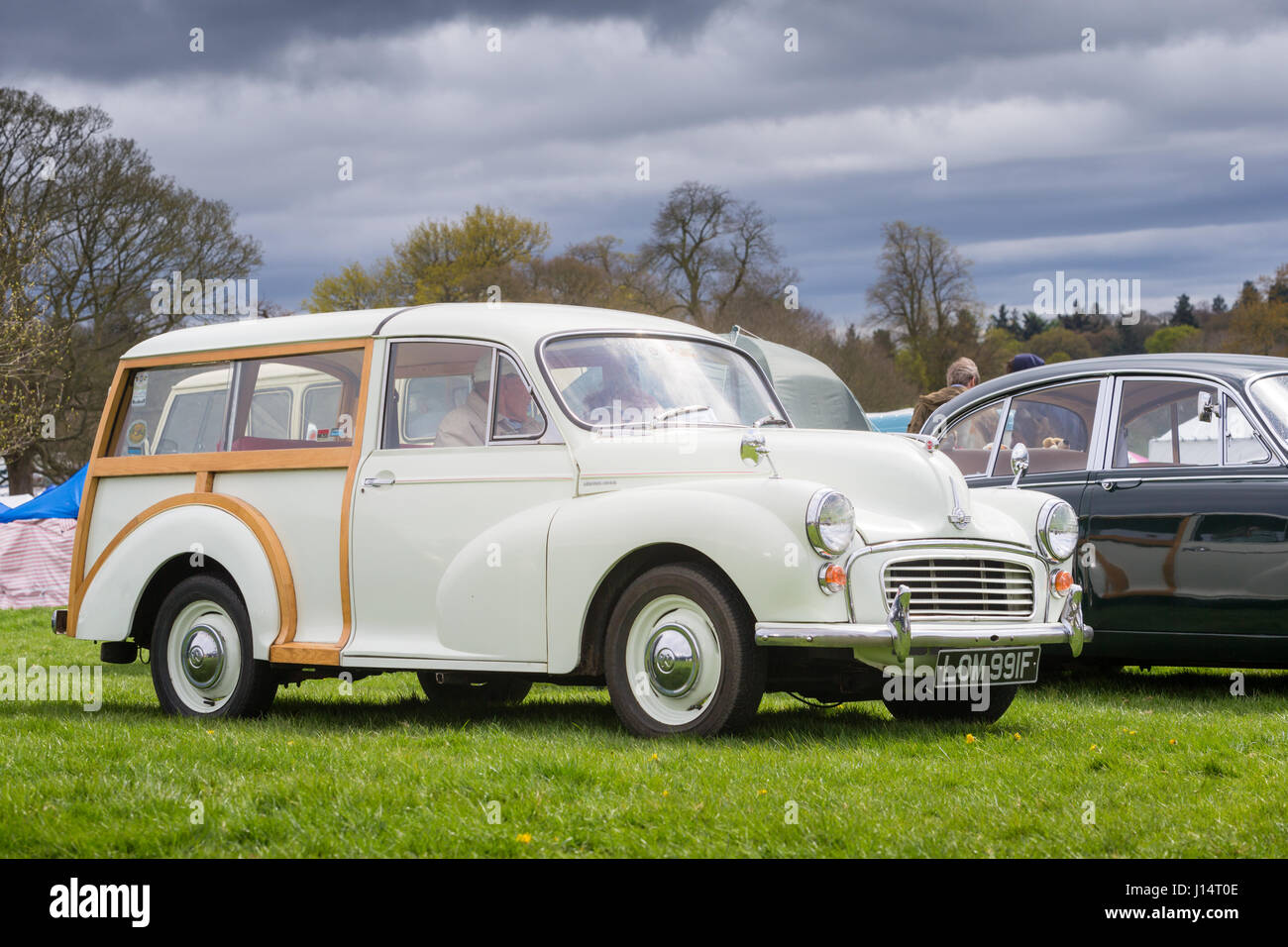 Vintage classic Morris Traveller 1970s white timbered estate - Stock Image