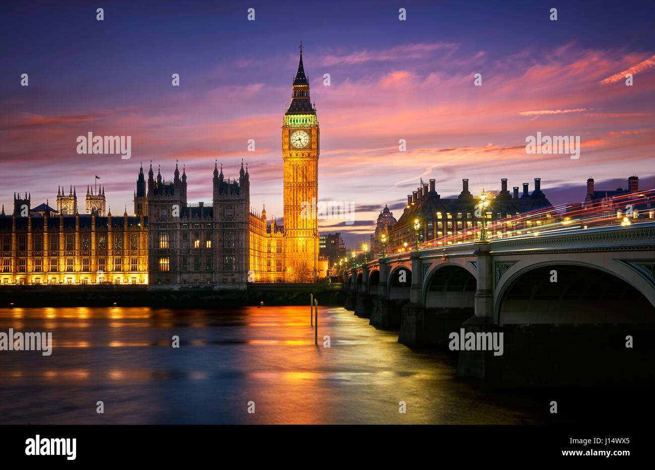 The Elizabeth Tower or Big Ben is one of the most known monuments in the world. It belongs to the Palace of Westminster. - Stock Image