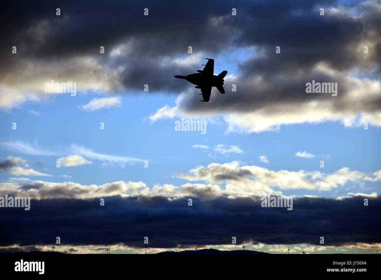 Canberra, Australia - March 18, 2017. An adrenalin rushing RAAF F/A-18F Super Hornet jet handling display at Regatta - Stock Image