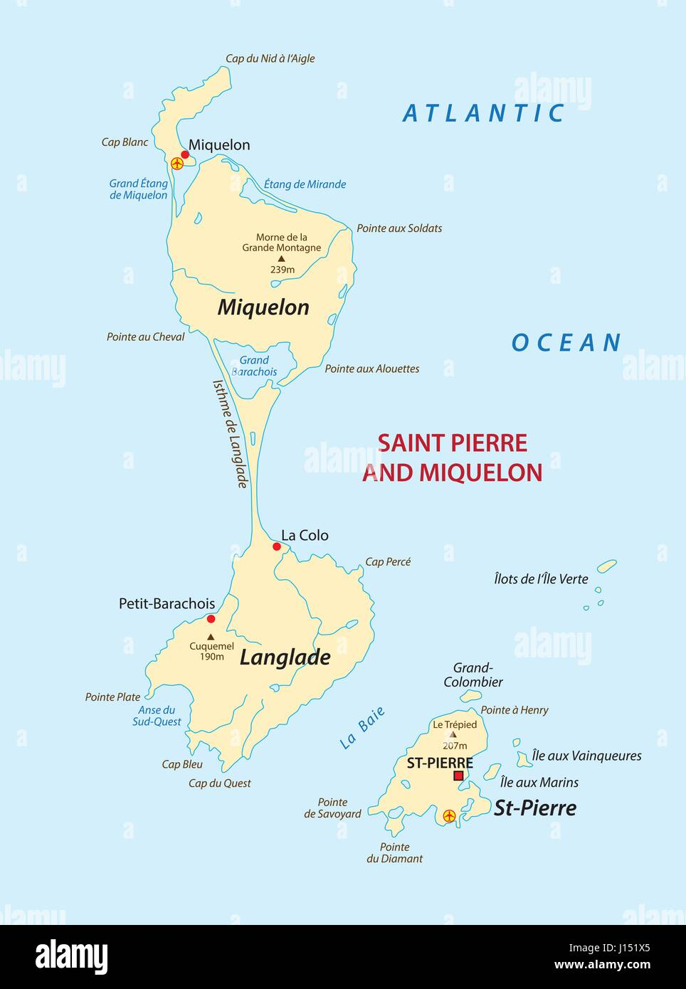saint pierre and miquelon map Stock Vector Art Illustration