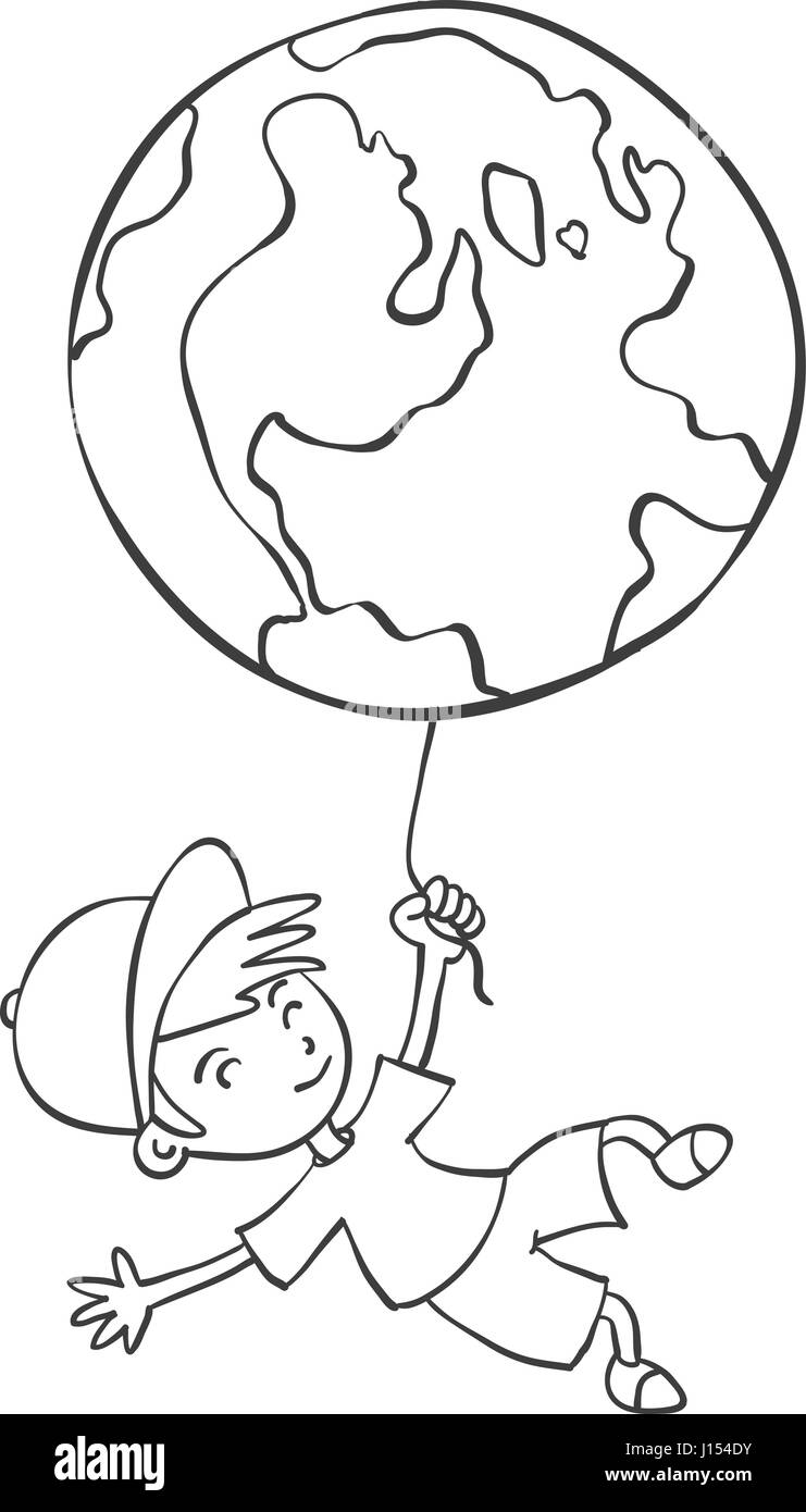 Hand draw child with earth - Stock Image