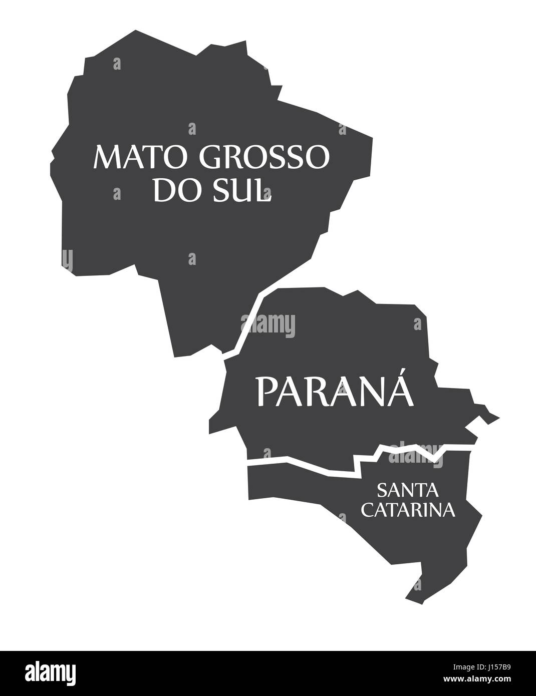 Mato Grosso do sul - Parana - Santa Catarina Map Brazil illustration Stock Vector