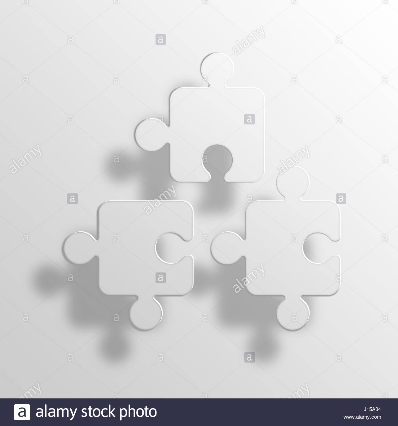Puzzle Pieces 3D Paper Icon Symbol Business Concept No4295