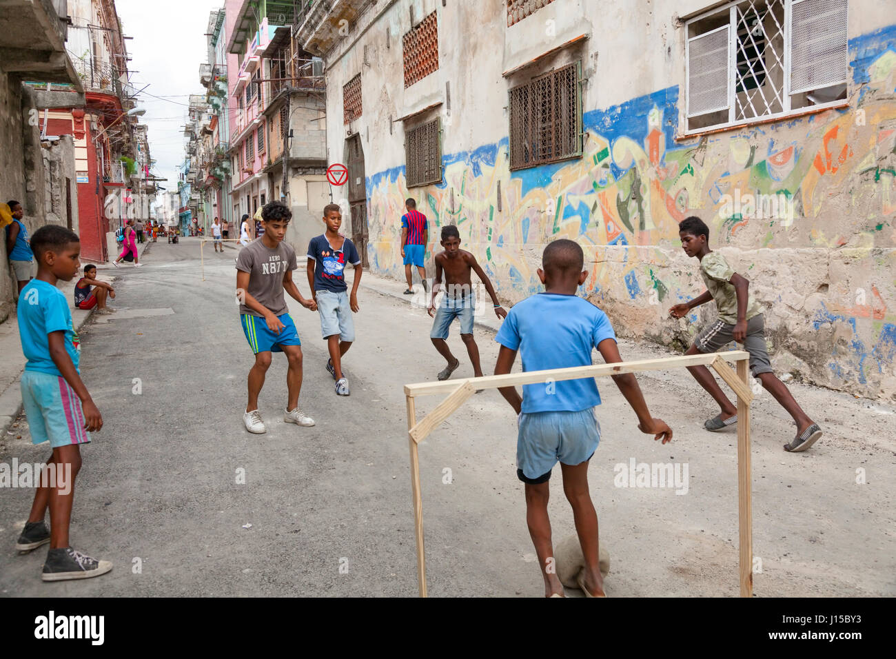 Cuban Children Playing Soccer Or Football In The Street Havana Cuba